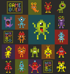 Seamless pattern with cute pixel monsters from the vector