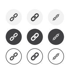 set 3 simple design chain icons rounded vector image