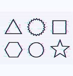 set frames with glitch effect circle triangle vector image