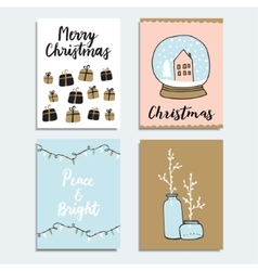 Set of Christmas New Year greeting journaling vector image