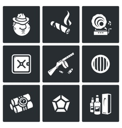 Set of Gangster Icons Mafia Tobacco vector