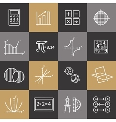 Set of modern thin line icons for math vector image