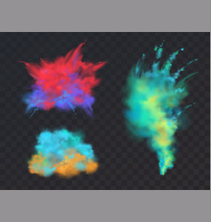 Set of powder explosions for holi fest vector