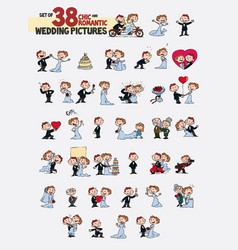 Set of thirty-eight characters bride and groom vector