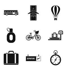 Sightseeing tour icons set simple style vector