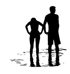 Silhouette of couple in the sea vector image vector image