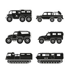 Silhouettes set of the cross-country vehicle vector