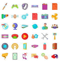Smart application icons set cartoon style vector