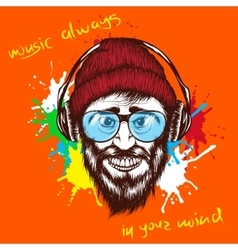 Smiling hipster listening a music in headphones vector
