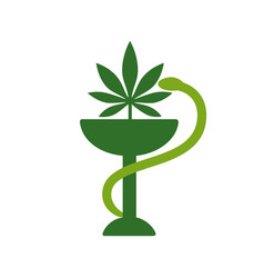 snake and bowl medical icon marijuana leaf vector image