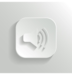 Speaker icon - white app button vector image