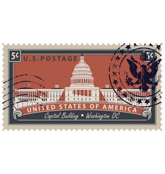 stamp with image of us capitol in washington dc vector image