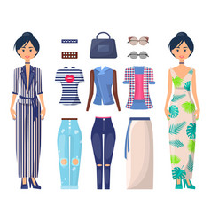 stylish girls set summer mode collection clothes vector image