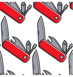 swiss knife switzerland symbol seamless pattern vector image