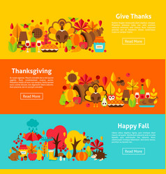 Thanksgiving web horizontal banners vector