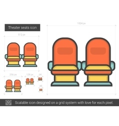 Theater seats line icon vector