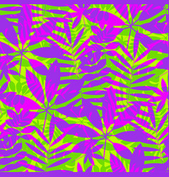 tropical leaves in vivid violet and green colors vector image