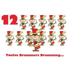 Twelve drummers drumming vector