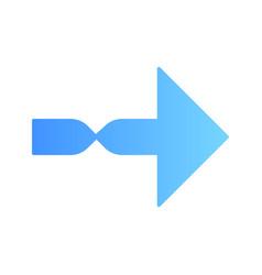Twisted blue arrow flat design long shadow color vector