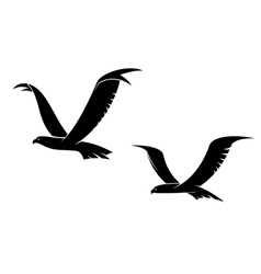 Two flying birds in silhouette vector