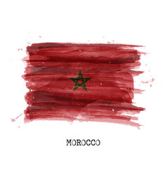 watercolor painting design flag of morocco vector image