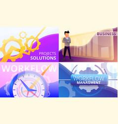 Workflow management banner set cartoon style vector