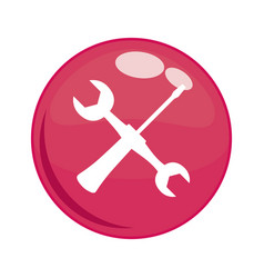 wrench and screwdriver in button vector image