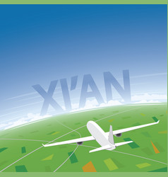 Xian flight destination vector
