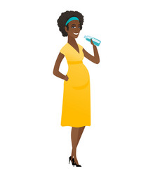 young african pregnant woman drinking water vector image