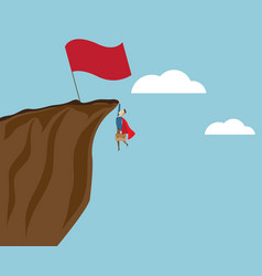 businessman climbing at cliff with big red flag vector image vector image