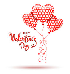 Happy valentines day red balloons and hand drawn vector