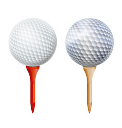 realistic golf ball on tee isolated vector image