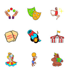 Show icons set cartoon style vector