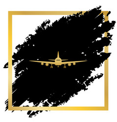 flying plane sign front view golden icon vector image
