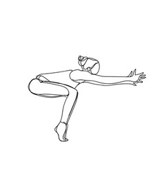 Silhouette woman in joga pose doodle on white vector
