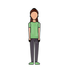 woman standing with casual clothes person vector image
