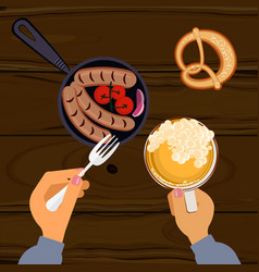 person eating grilled sausages vector image vector image