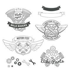 Set of biker vintage labels oldschool motor logo vector image vector image
