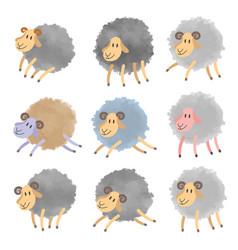 set of cartoon lambs vector image