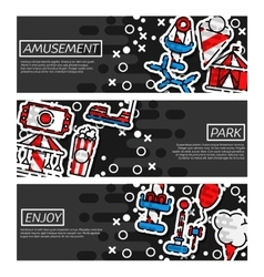 Set of Horizontal Banners about Amusement park vector image vector image