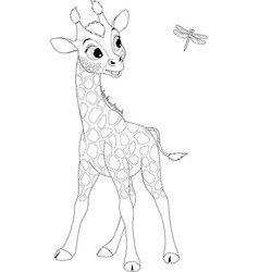 funny little giraffe and dragonfly vector image