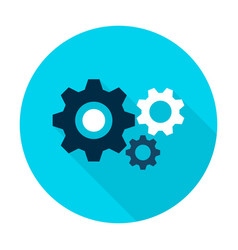 three gear flat circle icon vector image