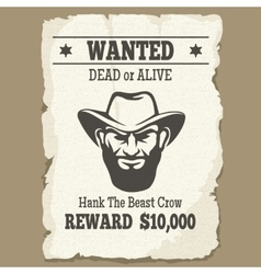 Wanted dead or alive western poster vector