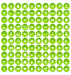 100 charity icons set green vector image