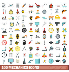 100 mechanics icons set flat style vector