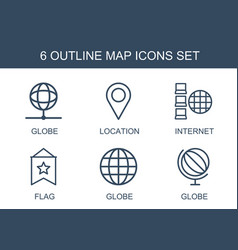 6 map icons vector