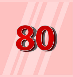 80 years anniversary red elegant number template vector