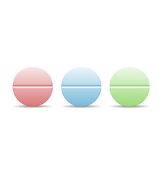 a set of colorful pills in round shape vector image