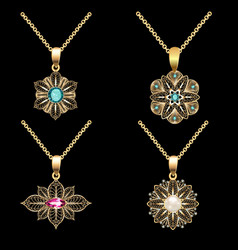 A set of gold pendants with filigree and precious vector