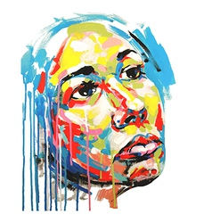 Acrylic painting color portrait women vector